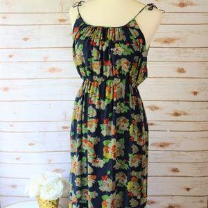 Theory Blue Floral Silk Maxi Blouson Sun Dress M